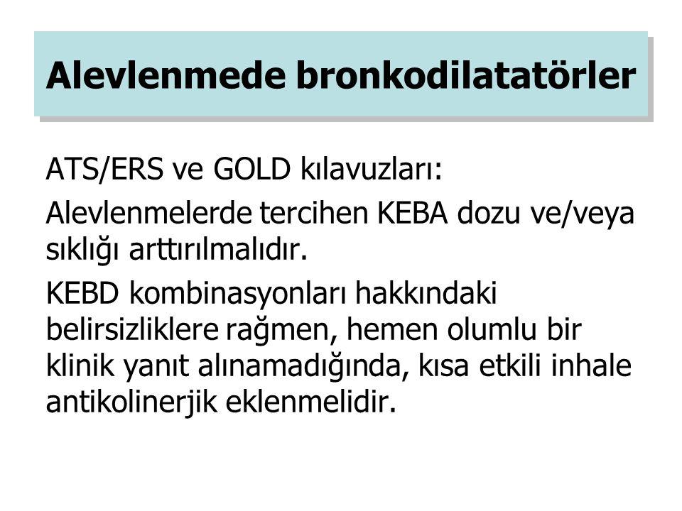 ATS/ERS ve GOLD kılavuzları: Alevlenmelerde tercihen KEBA dozu ve/veya sıklığı arttırılmalıdır. KEBD kombinasyonları hakkındaki belirsizliklere rağmen