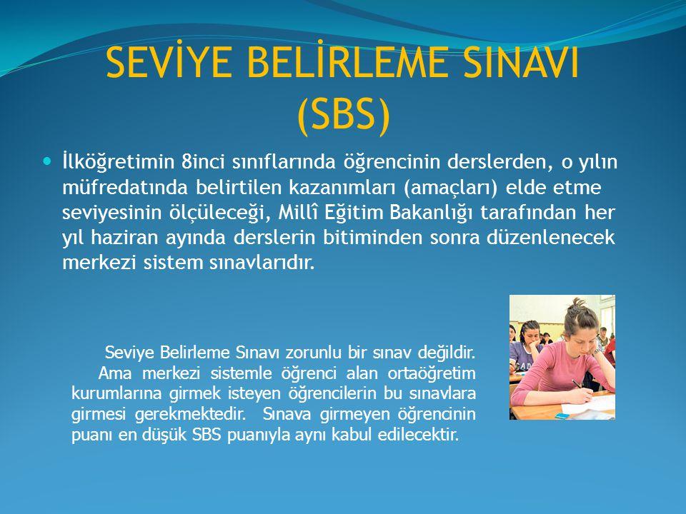 SEVİYE BELİRLEME SINAVI (SBS) İlköğretimin 8inci sınıflarında öğrencinin derslerden, o yılın müfredatında belirtilen kazanımları (amaçları) elde etme seviyesinin ölçüleceği, Millî Eğitim Bakanlığı tarafından her yıl haziran ayında derslerin bitiminden sonra düzenlenecek merkezi sistem sınavlarıdır.