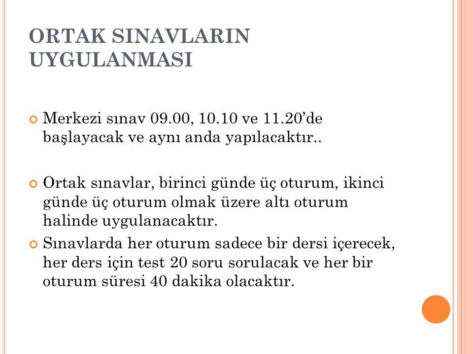 ORTAK SINAVLARIN UYGULANMASI Merkezi sınav 09.00, 10.10 ve 11.20'de başlayacak ve aynı anda yapılacaktır..