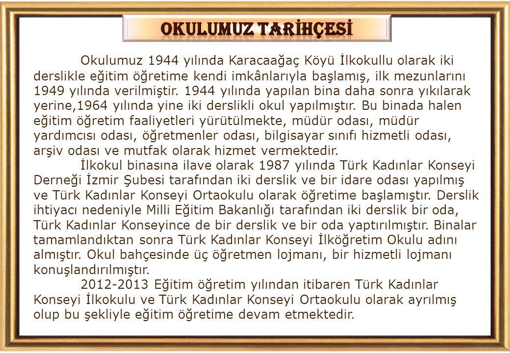 Okulumuz 1944 yılında Karacaağaç Köyü İlkokullu olarak iki derslikle eğitim öğretime kendi imkânlarıyla başlamış, ilk mezunlarını 1949 yılında verilmiştir.