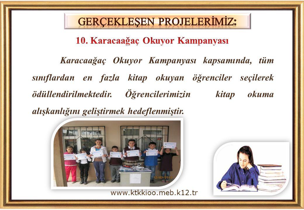 Karacaağaç Okuyor Kampanyası kapsamında, tüm sınıflardan en fazla kitap okuyan öğrenciler seçilerek ödüllendirilmektedir.