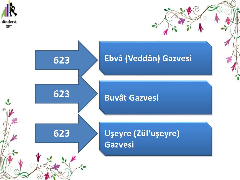 623 Ebvâ (Veddân) Gazvesi Buvât Gazvesi Uşeyre (Zül'uşeyre) Gazvesi 623