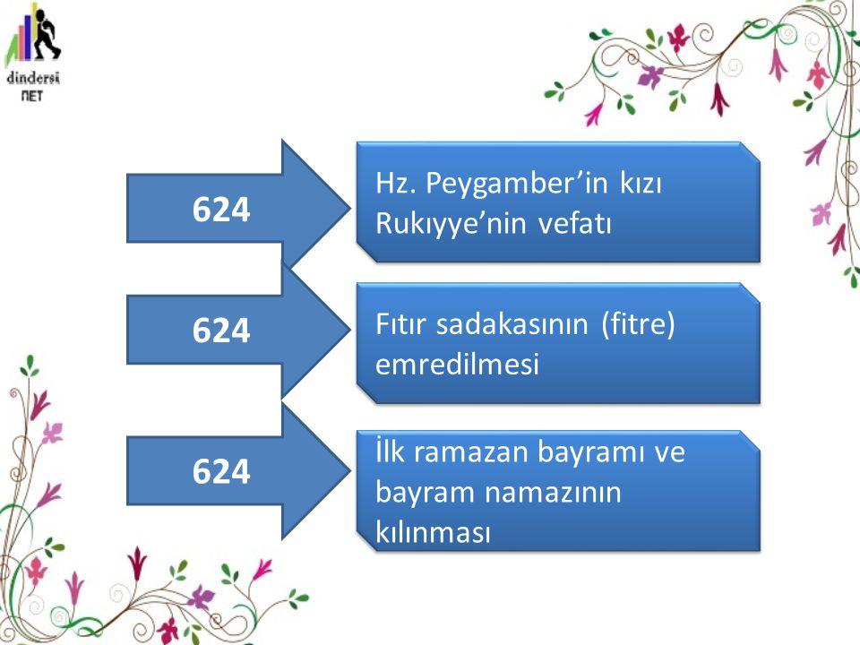 Hz. Peygamber'in kızı Rukıyye'nin vefatı Fıtır sadakasının (fitre) emredilmesi İlk ramazan bayramı ve bayram namazının kılınması 624