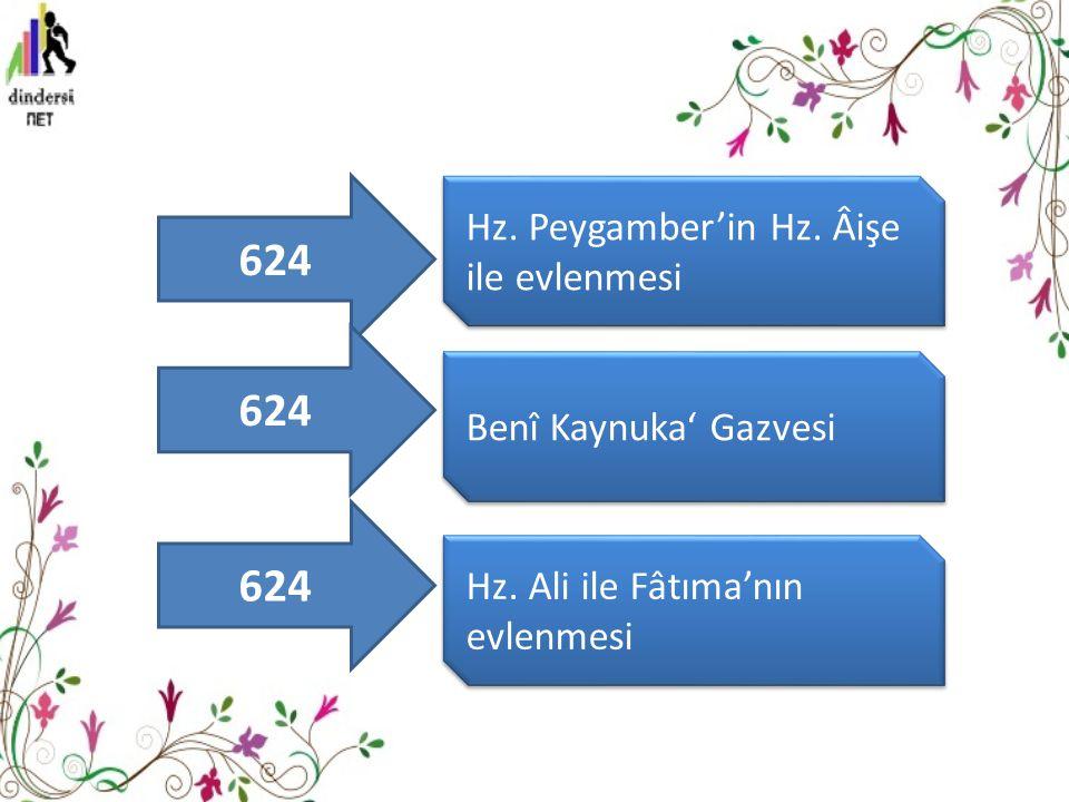Hz. Peygamber'in Hz. Âişe ile evlenmesi Benî Kaynuka' Gazvesi Hz. Ali ile Fâtıma'nın evlenmesi 624