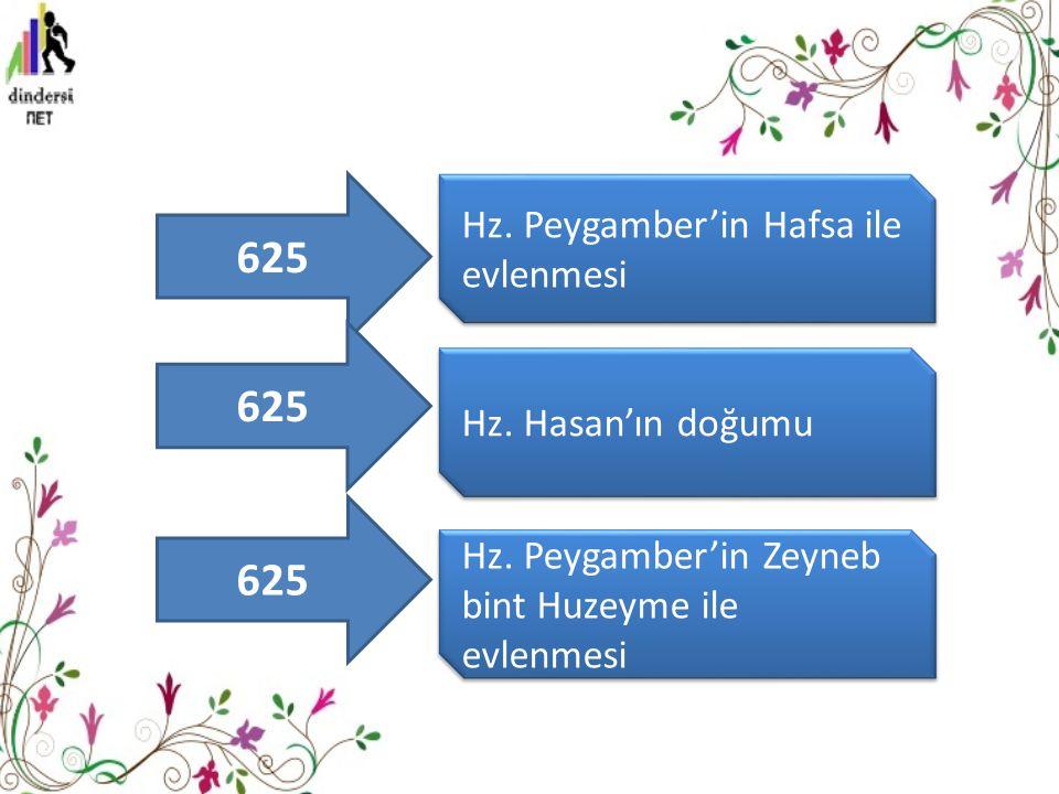 625 Hz.Peygamber'in Hafsa ile evlenmesi Hz. Hasan'ın doğumu Hz.