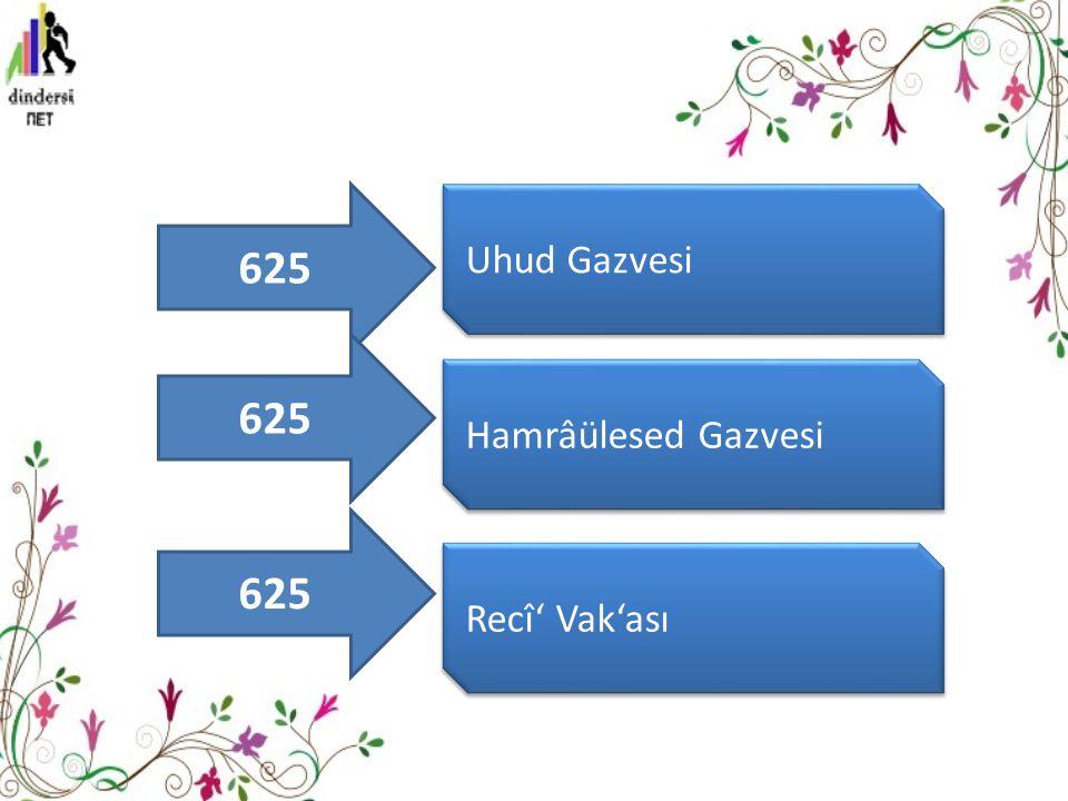 Uhud Gazvesi Hamrâülesed Gazvesi Recî' Vak'ası 625