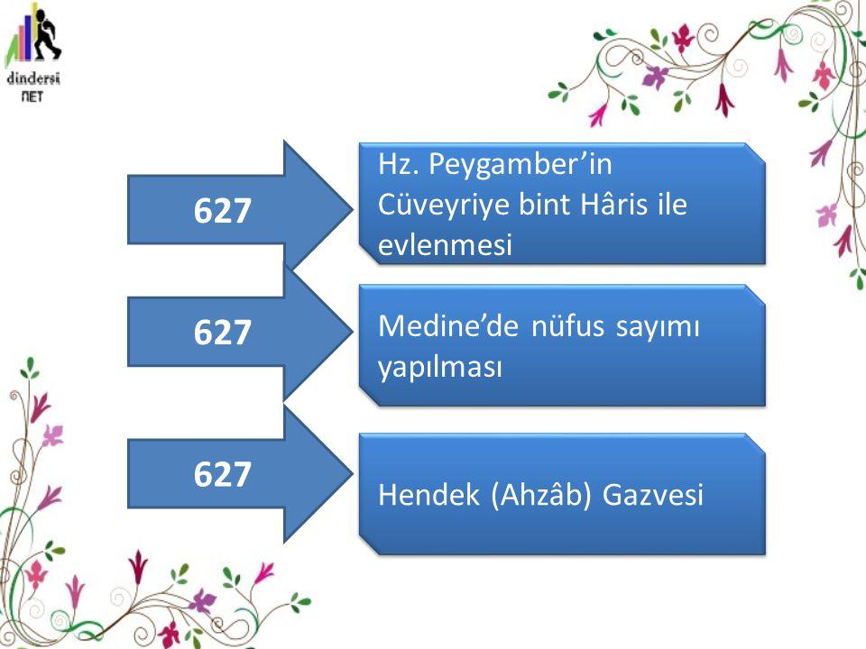 Hz. Peygamber'in Cüveyriye bint Hâris ile evlenmesi Medine'de nüfus sayımı yapılması Hendek (Ahzâb) Gazvesi 627