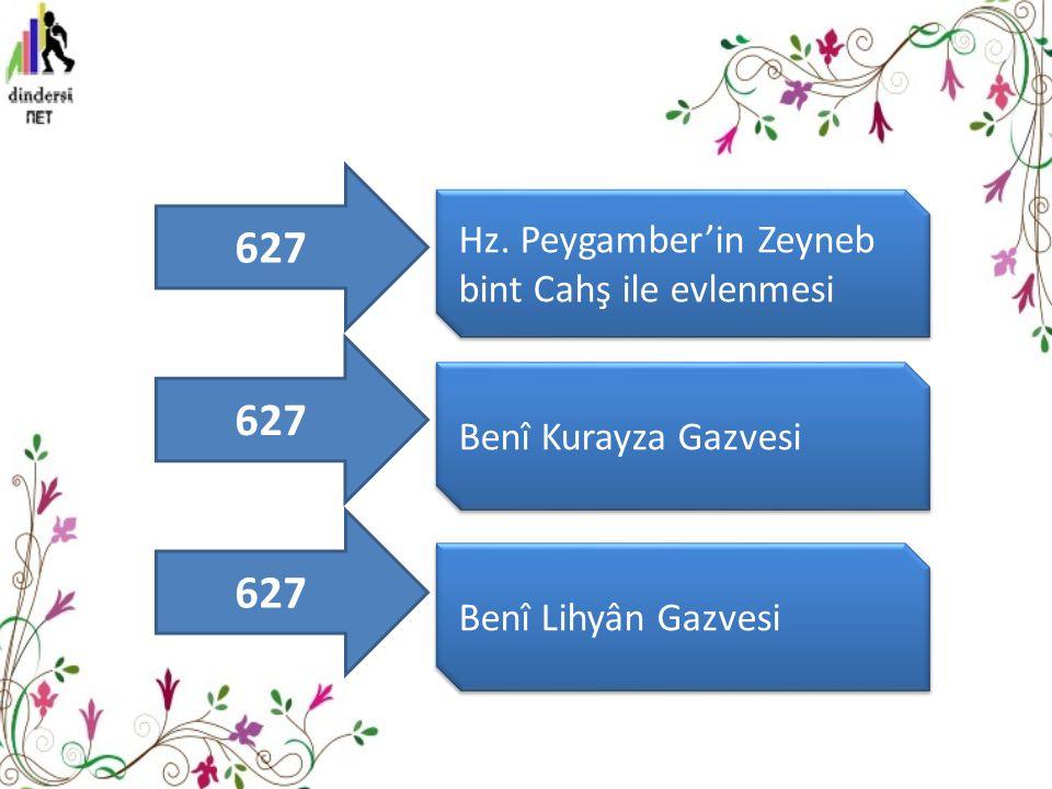 Hz. Peygamber'in Zeyneb bint Cahş ile evlenmesi Benî Kurayza Gazvesi Benî Lihyân Gazvesi 627