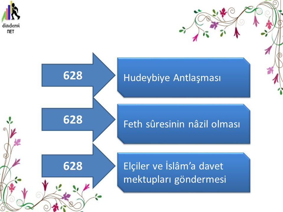 Hudeybiye Antlaşması Feth sûresinin nâzil olması Elçiler ve İslâm'a davet mektupları göndermesi 628