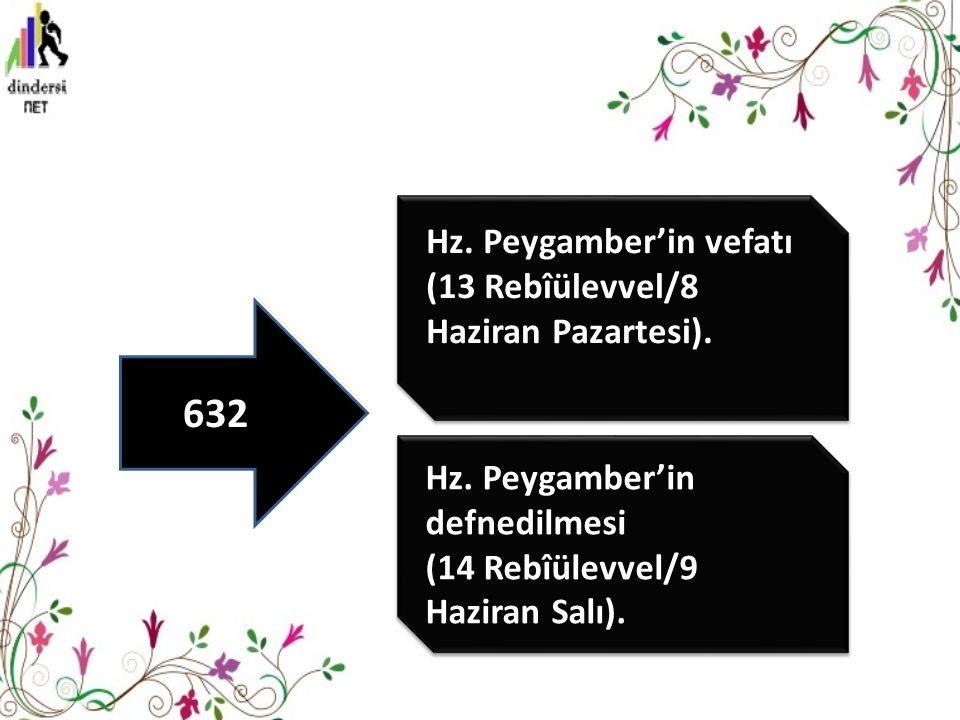 Hz.Peygamber'in defnedilmesi (14 Rebîülevvel/9 Haziran Salı).