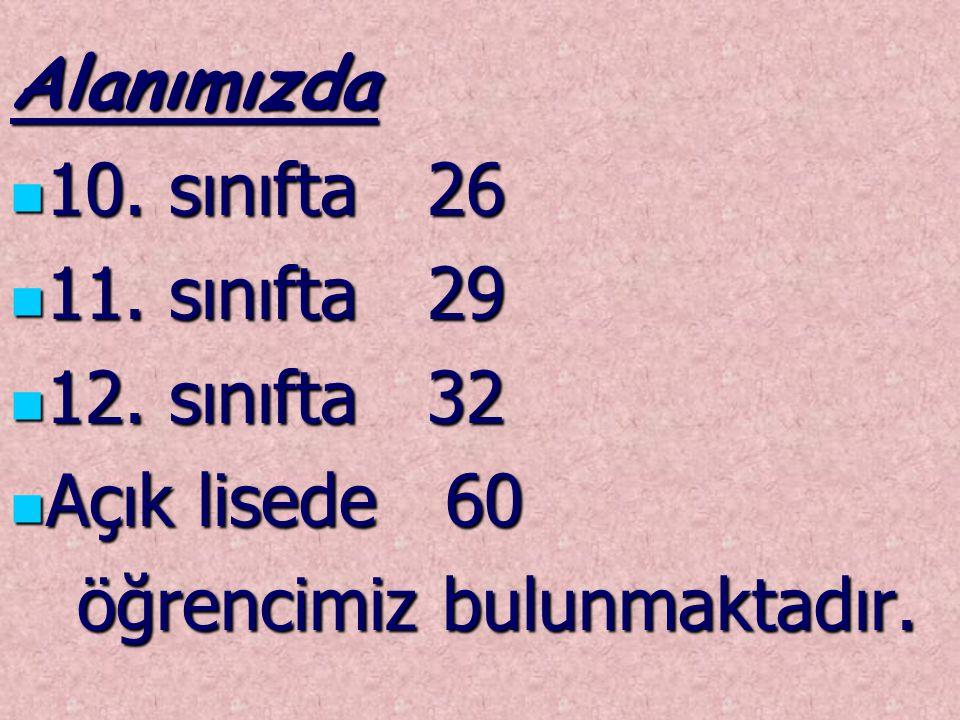 Alanımızda 10.sınıfta 26 10. sınıfta 26 11. sınıfta 29 11.