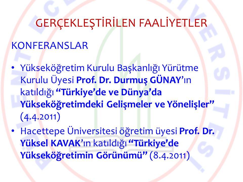 """GERÇEKLEŞTİRİLEN FAALİYETLER Yükseköğretim Kurulu Başkanlığı Yürütme Kurulu Üyesi Prof. Dr. Durmuş GÜNAY'ın katıldığı """"Türkiye'de ve Dünya'da Yükseköğ"""