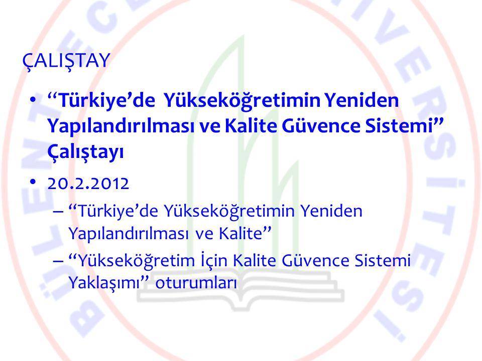 """""""Türkiye'de Yükseköğretimin Yeniden Yapılandırılması ve Kalite Güvence Sistemi"""" Çalıştayı 20.2.2012 – """"Türkiye'de Yükseköğretimin Yeniden Yapılandırıl"""