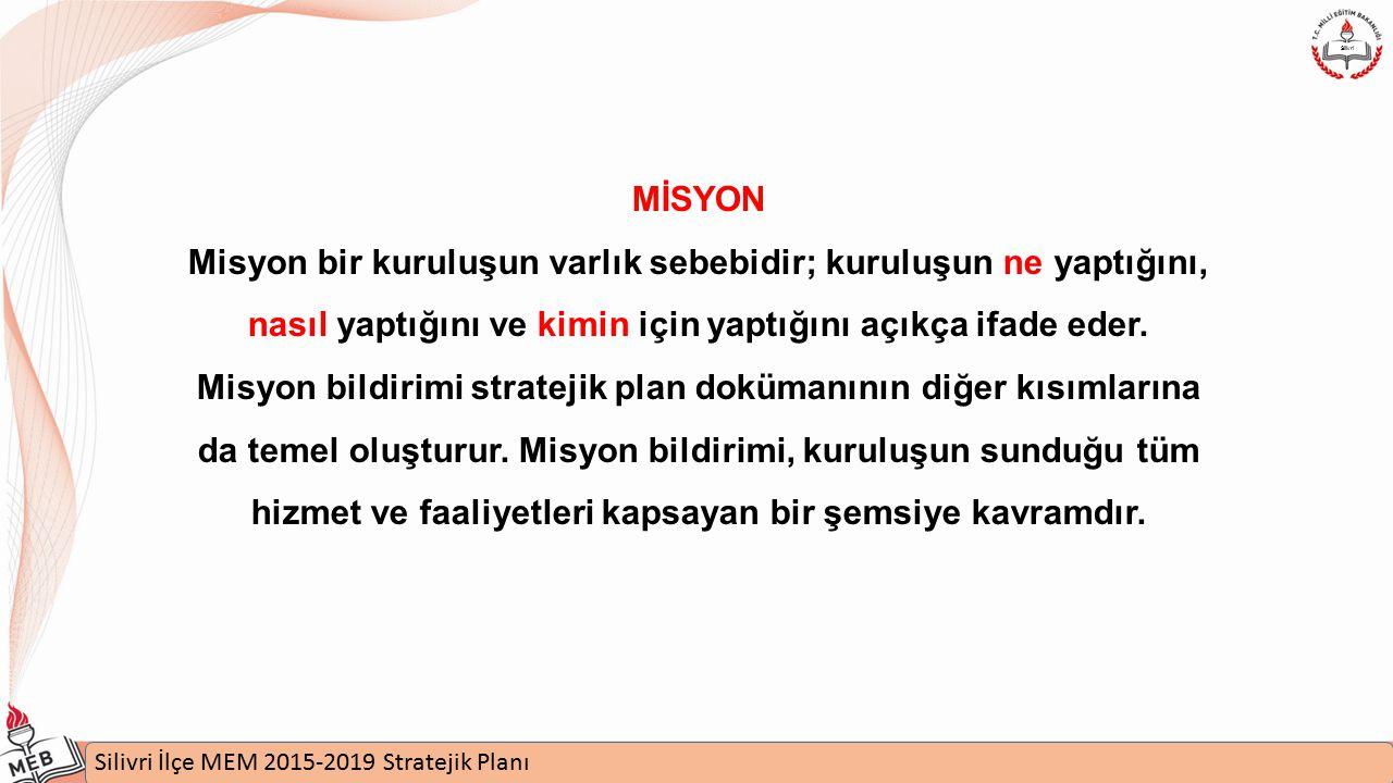 İstanbul MEM 2015-2019 Stratejik Plan Uygulamaları Semineri Silivri İlçe MEM 2015-2019 Stratejik Planı Silivri MİSYON Misyon bir kuruluşun varlık sebebidir; kuruluşun ne yaptığını, nasıl yaptığını ve kimin için yaptığını açıkça ifade eder.