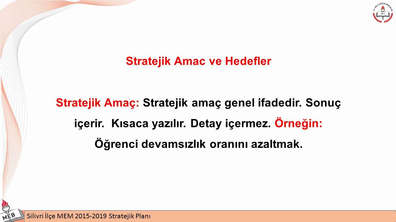 İstanbul MEM 2015-2019 Stratejik Plan Uygulamaları Semineri Silivri İlçe MEM 2015-2019 Stratejik Planı Silivri Stratejik Amac ve Hedefler Stratejik Amaç: Stratejik amaç genel ifadedir.
