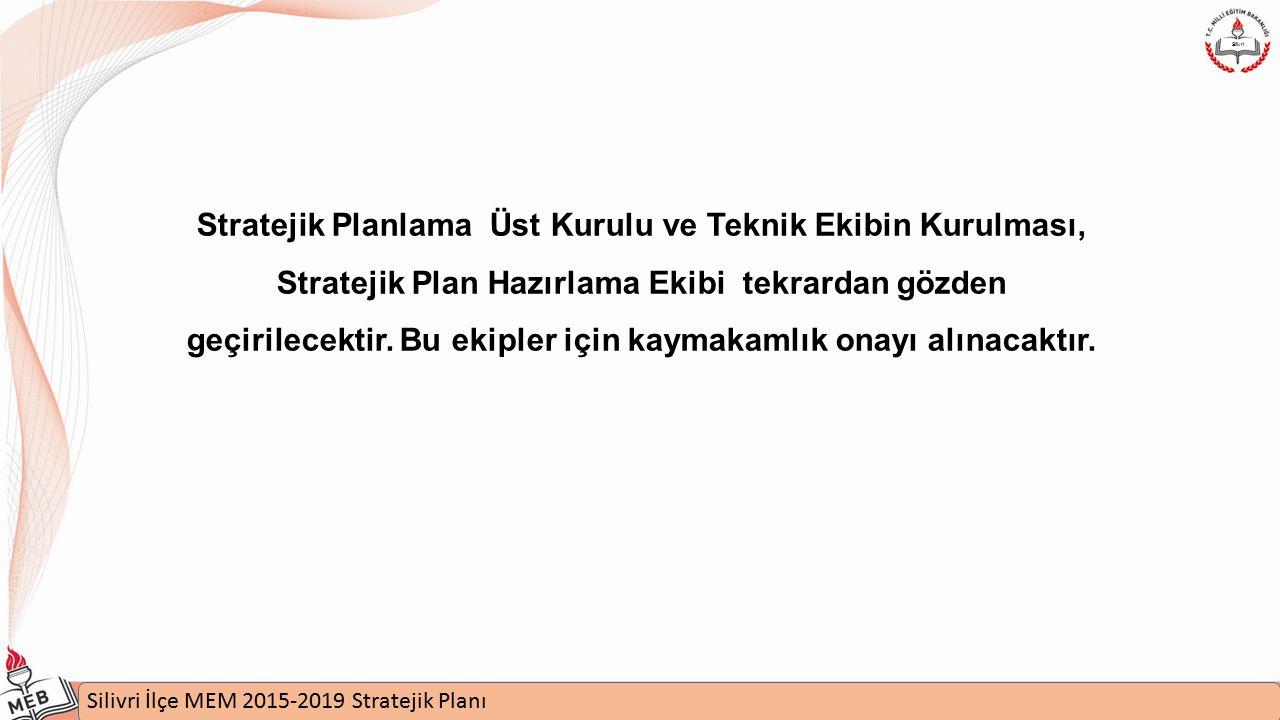 İstanbul MEM 2015-2019 Stratejik Plan Uygulamaları Semineri Silivri İlçe MEM 2015-2019 Stratejik Planı Silivri Stratejik Planlama Üst Kurulu ve Teknik Ekibin Kurulması, Stratejik Plan Hazırlama Ekibi tekrardan gözden geçirilecektir.