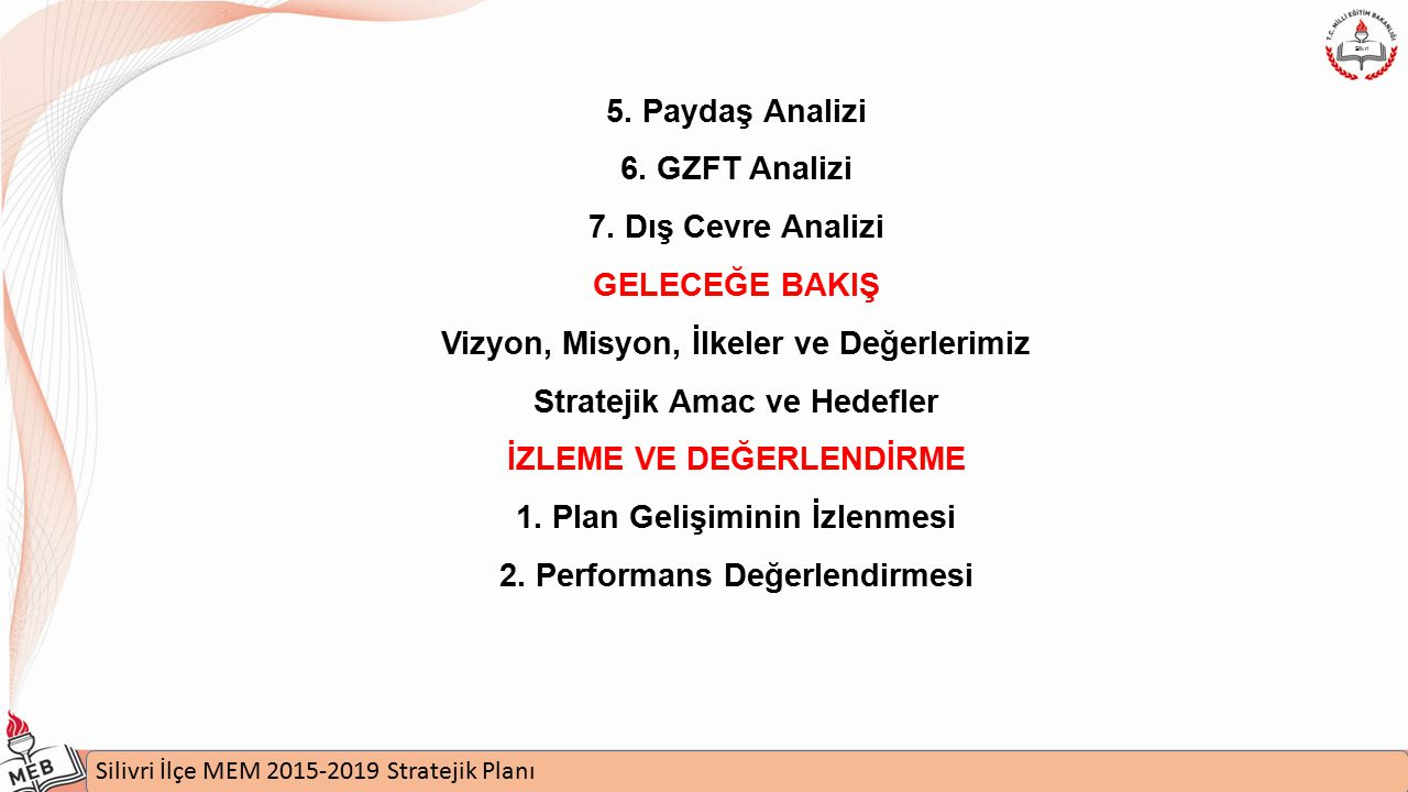 İstanbul MEM 2015-2019 Stratejik Plan Uygulamaları Semineri Silivri İlçe MEM 2015-2019 Stratejik Planı Silivri 4- KURUM İÇİ ANALİZ Kurumun organizasyon yapısı, yönetim şeması, norm kadro durumu, mevcut personel durumu, fiziki yapısı, sahip olduğu bahçesi, spor alanları, kantin ve servis durumu, sosyal ve kültürel faaliyetler, açılan kurslar, yarışmaya katılım durumları, kütüphane durumu, öğrencilerle ilgili durumlar (devamsızlık, başarı, mevcut gibi) vs.