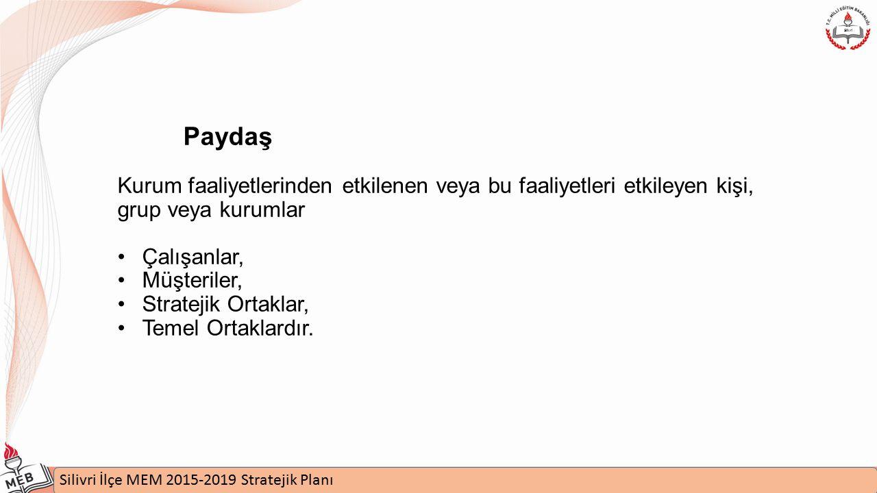 İstanbul MEM 2015-2019 Stratejik Plan Uygulamaları Semineri Silivri İlçe MEM 2015-2019 Stratejik Planı Silivri Paydaş Kurum faaliyetlerinden etkilenen veya bu faaliyetleri etkileyen kişi, grup veya kurumlar Çalışanlar, Müşteriler, Stratejik Ortaklar, Temel Ortaklardır.