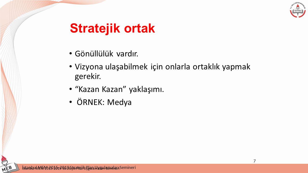 İstanbul MEM 2015-2019 Stratejik Plan Uygulamaları Semineri Silivri İlçe MEM 2015-2019 Stratejik Planı Silivri Stratejik Hedefler: Stratejik amaca göre belirlenir.