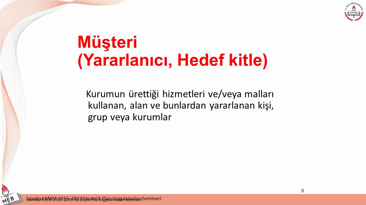 İstanbul MEM 2015-2019 Stratejik Plan Uygulamaları Semineri Silivri İlçe MEM 2015-2019 Stratejik Planı Silivri