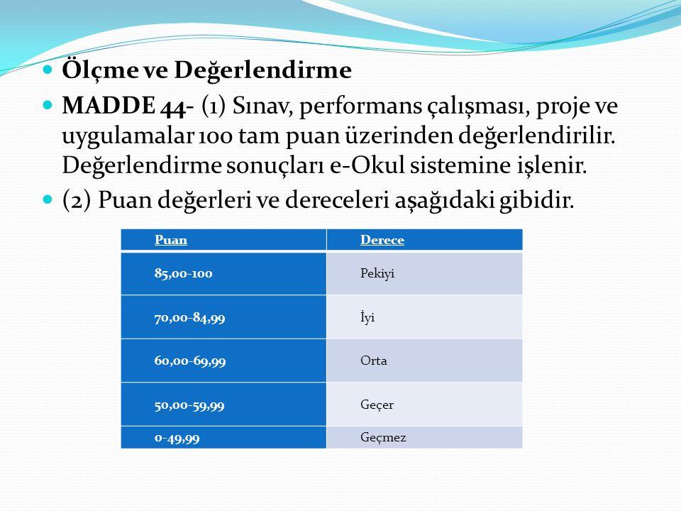 Ölçme ve Değerlendirme MADDE 44- (1) Sınav, performans çalışması, proje ve uygulamalar 100 tam puan üzerinden değerlendirilir.