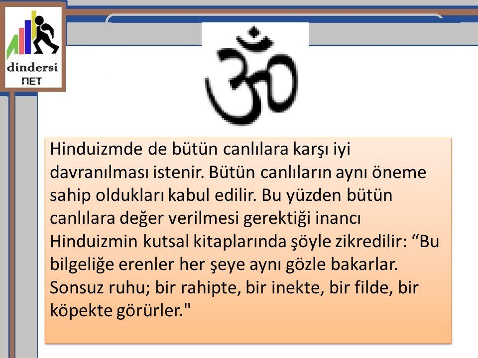 Hinduizmde de bütün canlılara karşı iyi davranılması istenir. Bütün canlıların aynı öneme sahip oldukları kabul edilir. Bu yüzden bütün canlılara değe