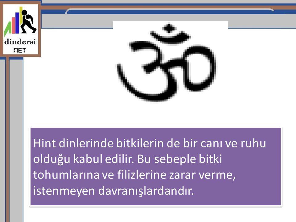 Hint dinlerinde bitkilerin de bir canı ve ruhu olduğu kabul edilir. Bu sebeple bitki tohumlarına ve filizlerine zarar verme, istenmeyen davranışlardan