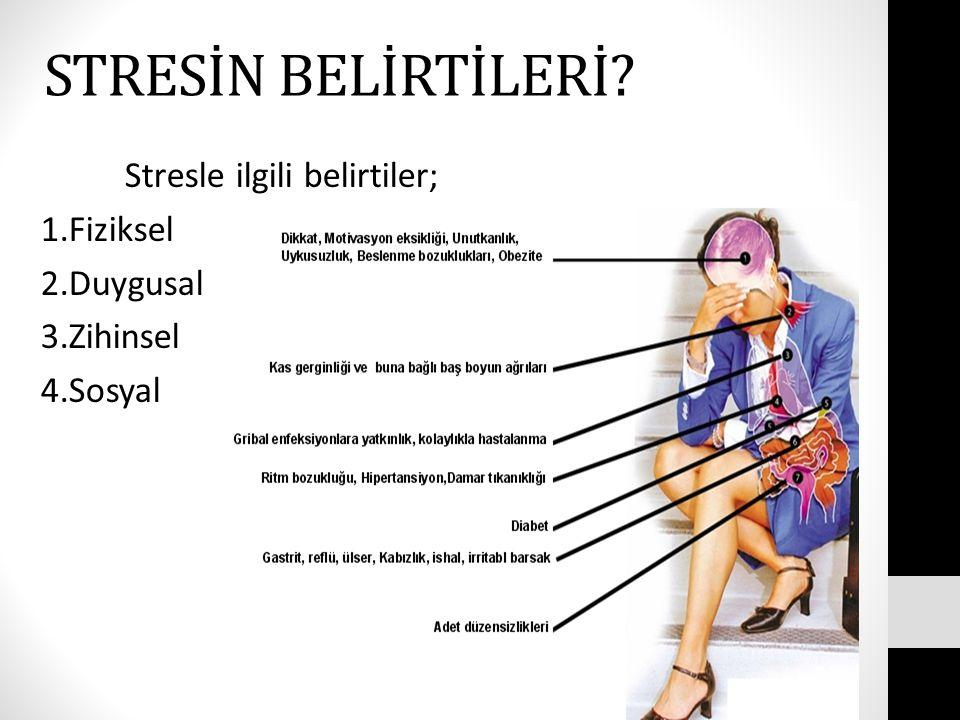 STRESİN BELİRTİLERİ? Stresle ilgili belirtiler; 1.Fiziksel 2.Duygusal 3.Zihinsel 4.Sosyal