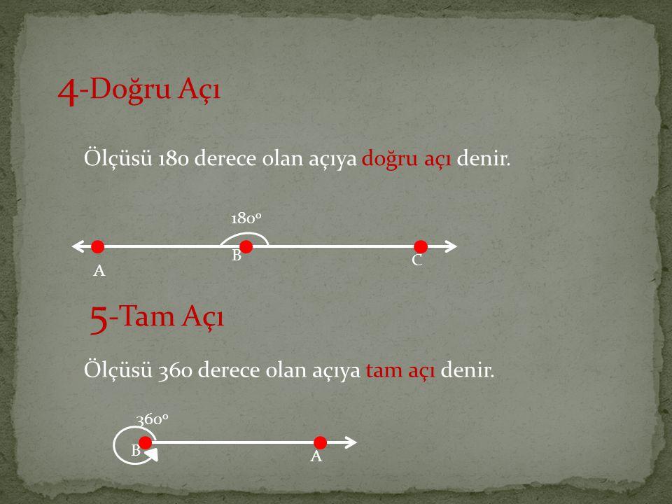 4 -Doğru Açı Ölçüsü 180 derece olan açıya doğru açı denir. 5 -Tam Açı Ölçüsü 360 derece olan açıya tam açı denir. A B C 180 o B A 360 o