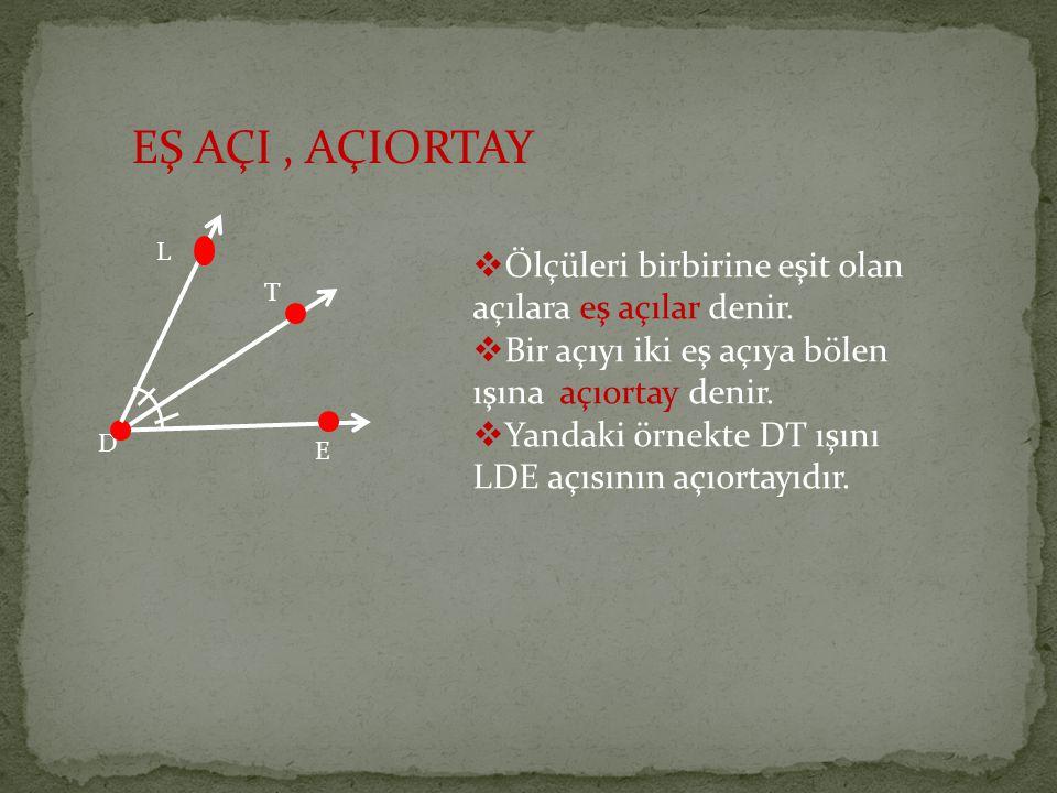 EŞ AÇI, AÇIORTAY  Ölçüleri birbirine eşit olan açılara eş açılar denir.  Bir açıyı iki eş açıya bölen ışına açıortay denir.  Yandaki örnekte DT ışı