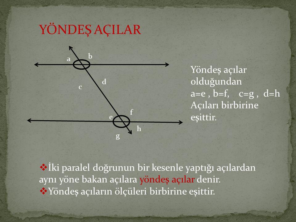 YÖNDEŞ AÇILAR  İki paralel doğrunun bir kesenle yaptığı açılardan aynı yöne bakan açılara yöndeş açılar denir.  Yöndeş açıların ölçüleri birbirine e