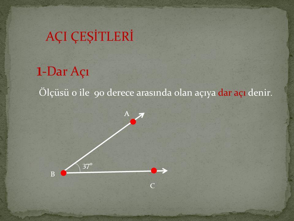 AÇI ÇEŞİTLERİ 1 -Dar Açı Ölçüsü 0 ile 90 derece arasında olan açıya dar açı denir. 37 o A B C