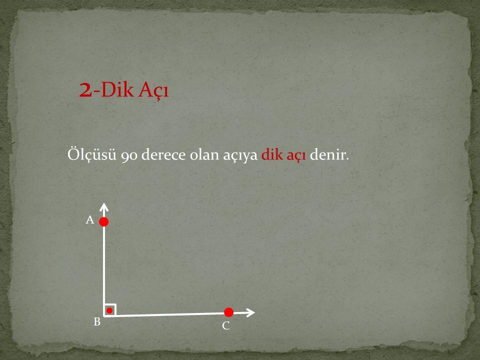 2 -Dik Açı Ölçüsü 90 derece olan açıya dik açı denir. A B C