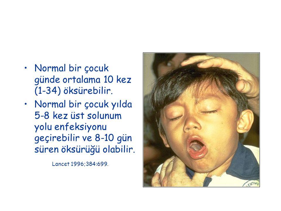 Normal bir çocuk günde ortalama 10 kez (1-34) öksürebilir.