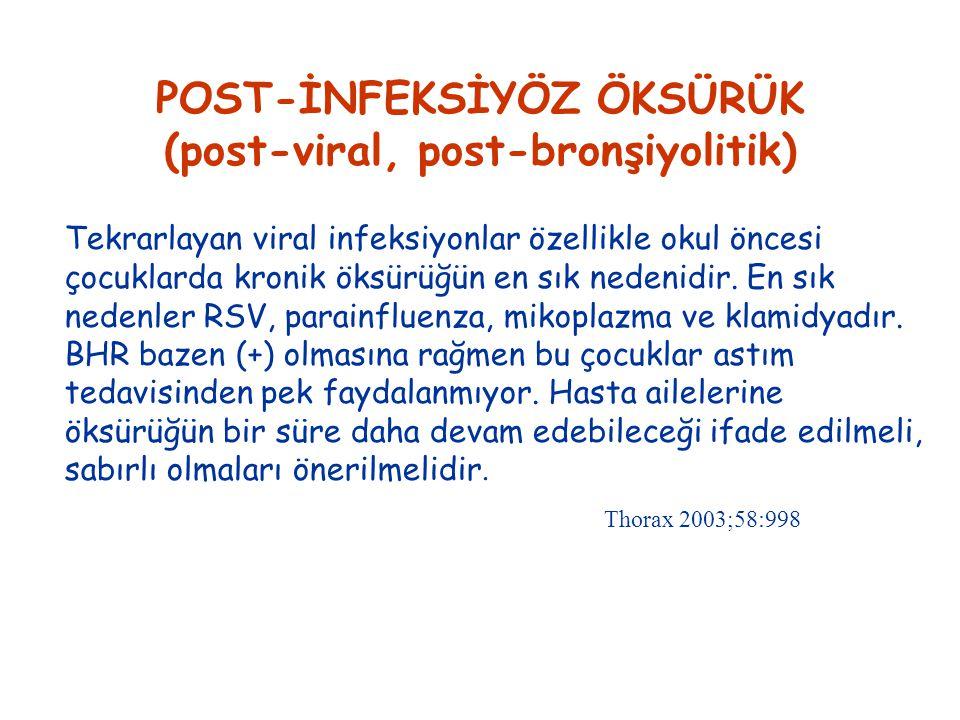 POST-İNFEKSİYÖZ ÖKSÜRÜK (post-viral, post-bronşiyolitik) Tekrarlayan viral infeksiyonlar özellikle okul öncesi çocuklarda kronik öksürüğün en sık nedenidir.