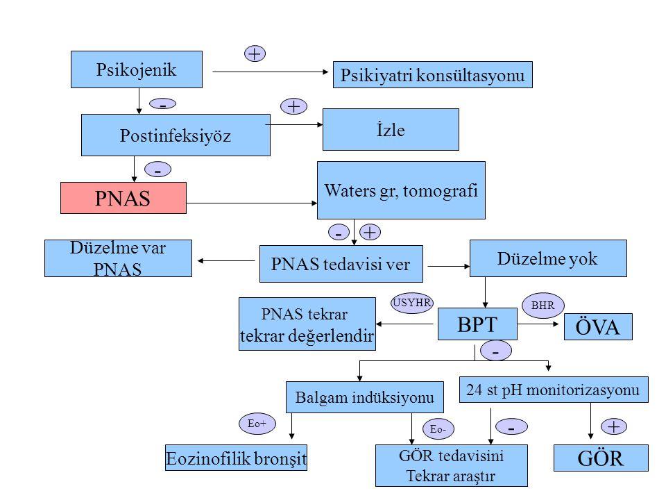 Psikojenik Psikiyatri konsültasyonu Postinfeksiyöz İzle PNAS Waters gr, tomografi Düzelme var PNAS PNAS tedavisi ver Düzelme yok PNAS tekrar tekrar değerlendir BPT ÖVA Balgam indüksiyonu 24 st pH monitorizasyonu Eozinofilik bronşit GÖR tedavisini Tekrar araştır GÖR - + - + - USYHR BHR - Eo+ Eo- -+ +