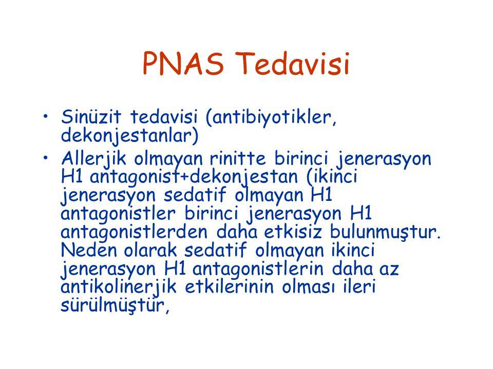 PNAS Tedavisi Sinüzit tedavisi (antibiyotikler, dekonjestanlar) Allerjik olmayan rinitte birinci jenerasyon H1 antagonist+dekonjestan (ikinci jenerasyon sedatif olmayan H1 antagonistler birinci jenerasyon H1 antagonistlerden daha etkisiz bulunmuştur.