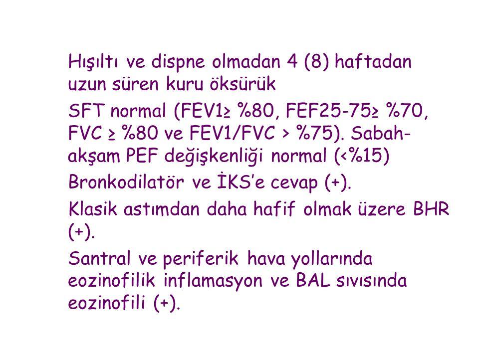 Hışıltı ve dispne olmadan 4 (8) haftadan uzun süren kuru öksürük SFT normal (FEV1≥ %80, FEF25-75≥ %70, FVC ≥ %80 ve FEV1/FVC > %75).