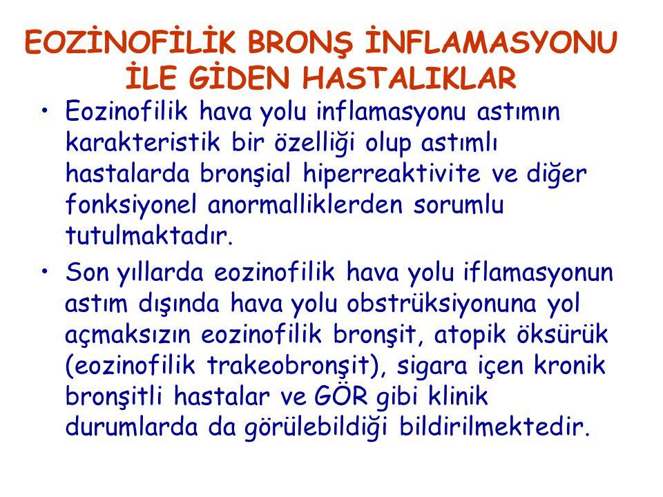 EOZİNOFİLİK BRONŞ İNFLAMASYONU İLE GİDEN HASTALIKLAR Eozinofilik hava yolu inflamasyonu astımın karakteristik bir özelliği olup astımlı hastalarda bronşial hiperreaktivite ve diğer fonksiyonel anormalliklerden sorumlu tutulmaktadır.
