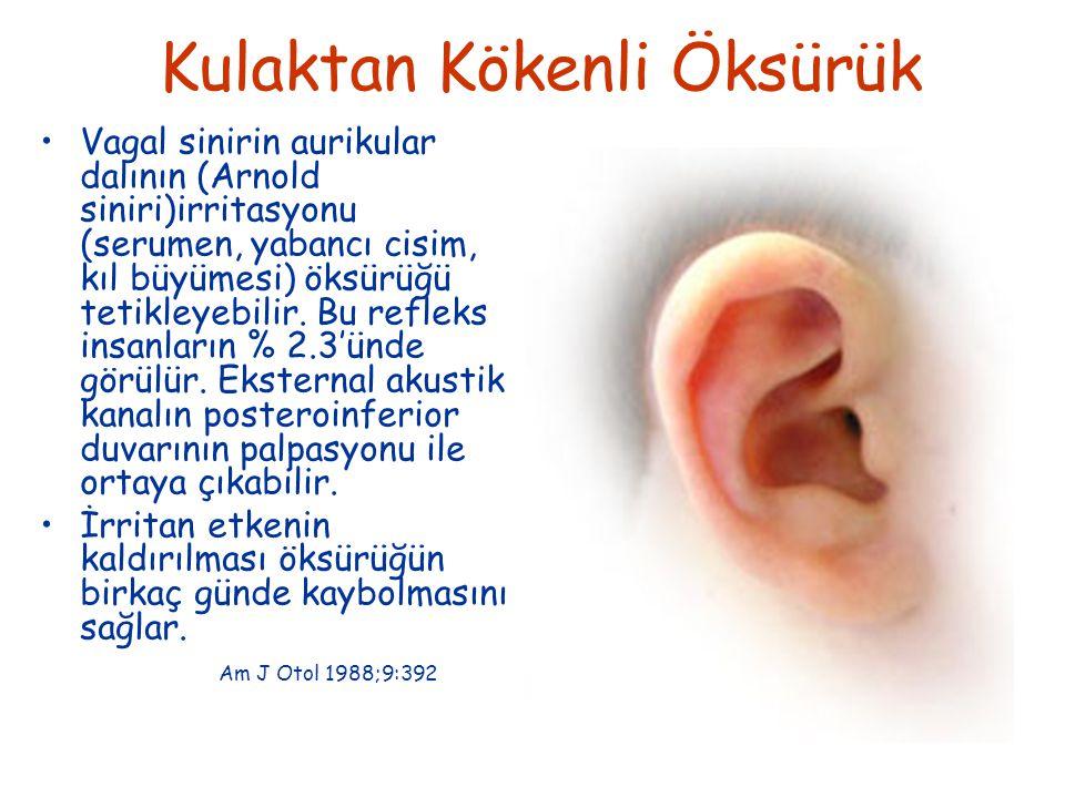 Kulaktan Kökenli Öksürük Vagal sinirin aurikular dalının (Arnold siniri)irritasyonu (serumen, yabancı cisim, kıl büyümesi) öksürüğü tetikleyebilir.