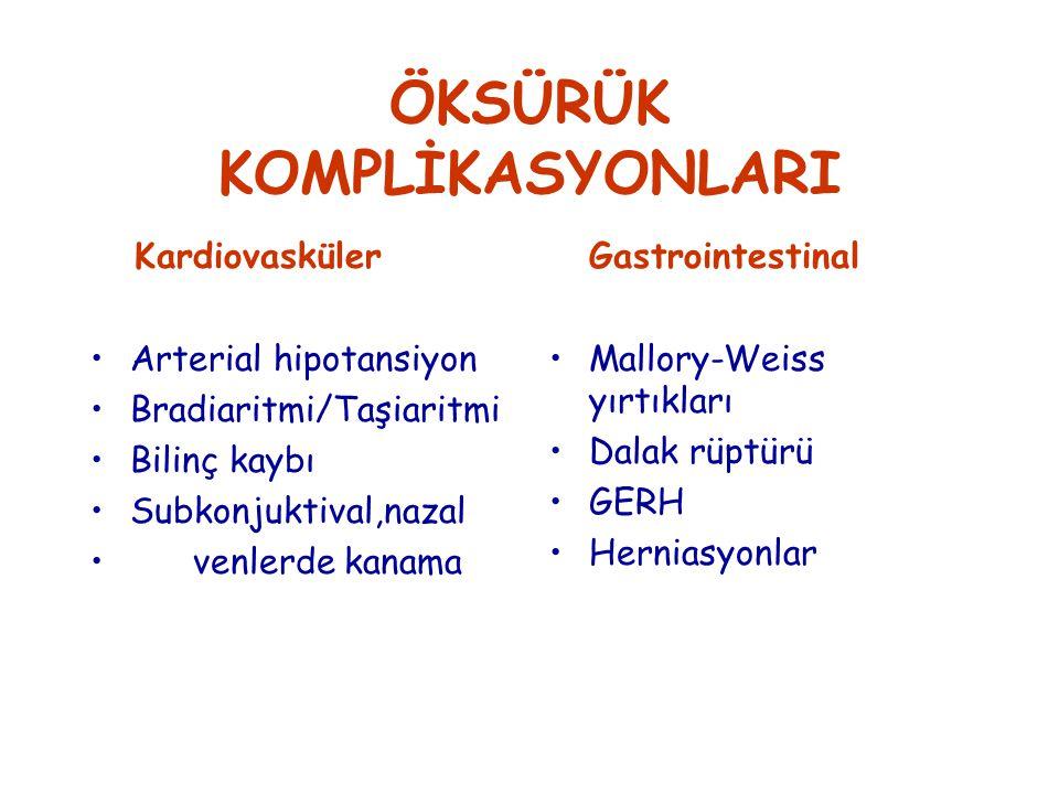 ÖKSÜRÜK KOMPLİKASYONLARI Kardiovasküler Arterial hipotansiyon Bradiaritmi/Taşiaritmi Bilinç kaybı Subkonjuktival,nazal venlerde kanama Gastrointestinal Mallory-Weiss yırtıkları Dalak rüptürü GERH Herniasyonlar
