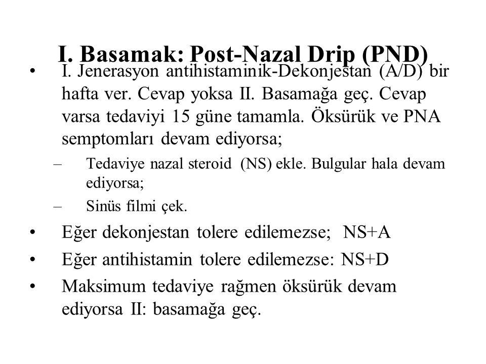 I.Basamak: Post-Nazal Drip (PND) I. Jenerasyon antihistaminik-Dekonjestan (A/D) bir hafta ver.