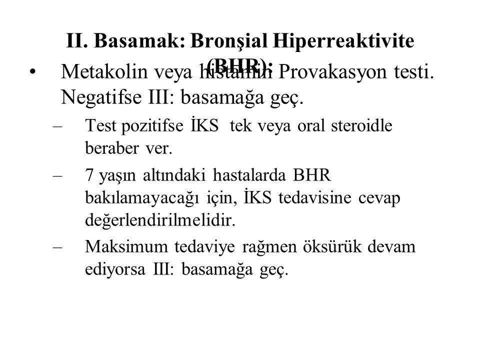II.Basamak: Bronşial Hiperreaktivite (BHR): Metakolin veya histamin Provakasyon testi.