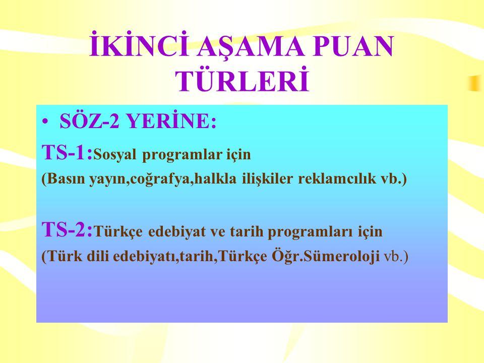 İKİNCİ AŞAMA PUAN TÜRLERİ SÖZ-2 YERİNE: TS-1: Sosyal programlar için (Basın yayın,coğrafya,halkla ilişkiler reklamcılık vb.) TS-2: Türkçe edebiyat ve tarih programları için (Türk dili edebiyatı,tarih,Türkçe Öğr.Sümeroloji vb.)