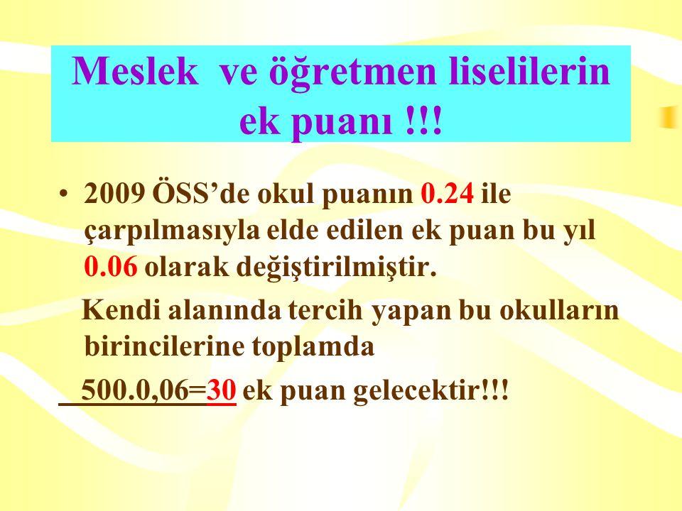 Meslek ve öğretmen liselilerin ek puanı !!.
