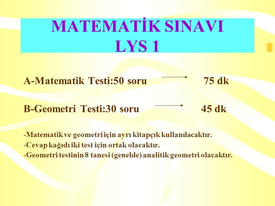MATEMATİK SINAVI LYS 1 A-Matematik Testi:50 soru 75 dk B-Geometri Testi:30 soru 45 dk -Matematik ve geometri için ayrı kitapçık kullanılacaktır.