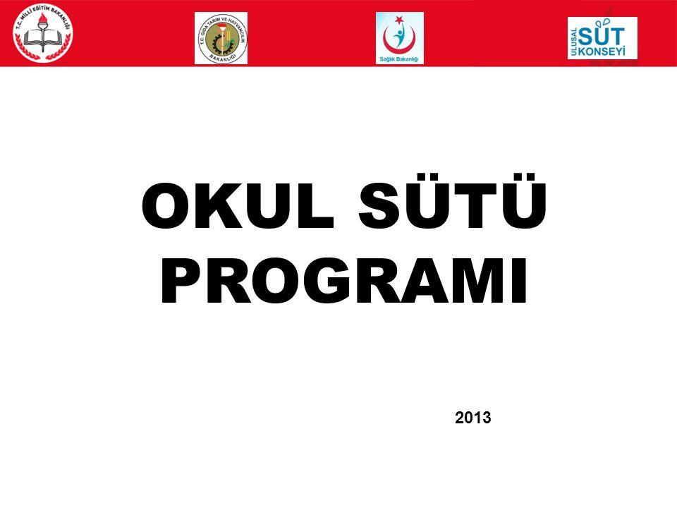 13 OKUL SÜTÜ PROGRAMI UYGULAMA ESASLARI HAKKINDAKİ BAKANLAR KURULU KARARI 10 EKİM 2012 OKUL SÜTÜ PROGRAMI UYGULAMA TEBLİĞİ15 KASIM 2012 OKUL SÜTÜ İHALESİ09 OCAK 2013 EĞİTİCİLERİN BİLGİLENDİRİLMESİ12-13 OCAK 2013 İL OKUL SÜTÜ KOMİSYONLARININ EĞİTİMİ16 OCAK 2013 TANITIM BASIN BİLGİLENDİRME 16 OCAK 2013 KAMUOYU TANITIM FAALİYETLERİ YIL BOYU ÖĞRETMENLERİN BİLGİLENDİRİLMESİ15 OCAK 2013 – 21 OCAK 2013 EĞİTİM15 OCAK 2013 – DÖNEM BOYU OKUL SÜTÜ ÜRETİMİ20 OCAK 2013 DAĞITIM04 ŞUBAT 2013 - 30 MAYIS 2013 DENETİMSÜREKLİ İCMALLERİN HAZIRLANMASIDAĞITIMI TAKİP EDEN AYIN 5.