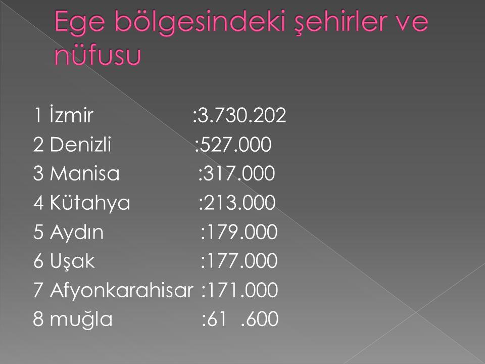 1 İzmir :3.730.202 2 Denizli :527.000 3 Manisa :317.000 4 Kütahya :213.000 5 Aydın :179.000 6 Uşak :177.000 7 Afyonkarahisar :171.000 8 muğla :61.600