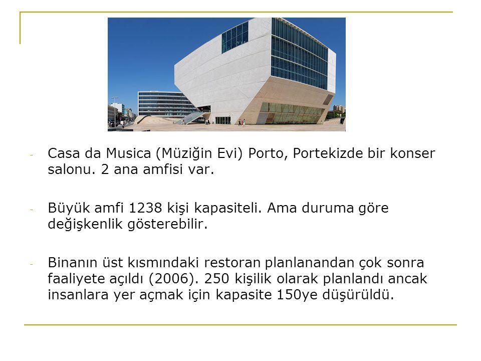 - Casa da Musica (Müziğin Evi) Porto, Portekizde bir konser salonu. 2 ana amfisi var. - Büyük amfi 1238 kişi kapasiteli. Ama duruma göre değişkenlik g