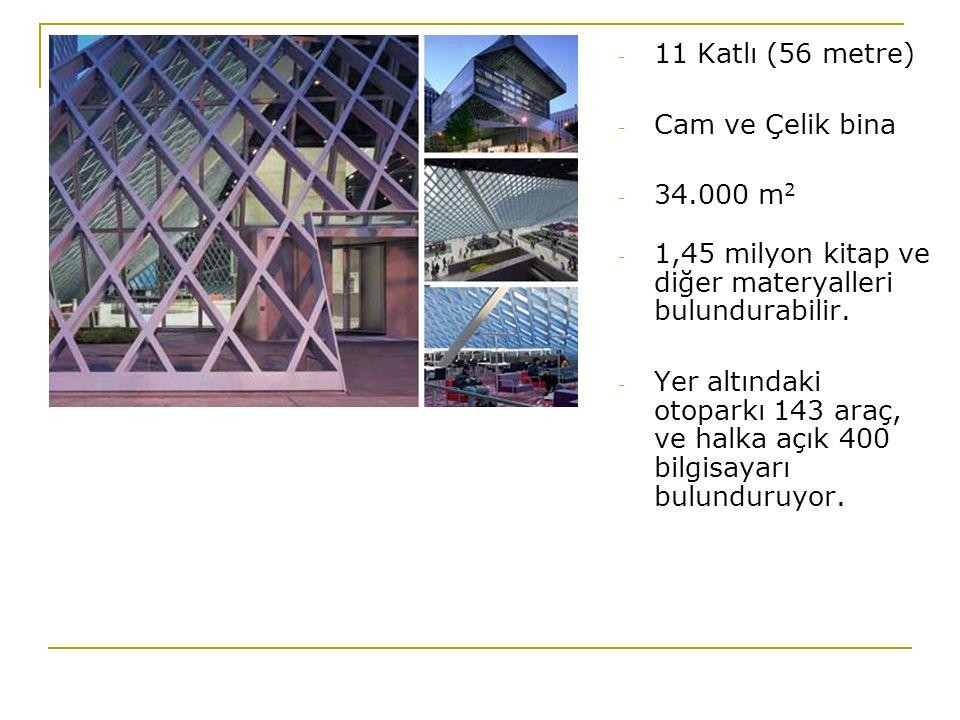 - 11 Katlı (56 metre) - Cam ve Çelik bina - 34.000 m 2 - 1,45 milyon kitap ve diğer materyalleri bulundurabilir. - Yer altındaki otoparkı 143 araç, ve